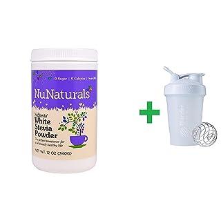 NuNaturals, NuStevia White Stevia Powder, 12 oz (340 g) + Sundesa, BlenderBottle, Classic With Loop, White, 20 oz