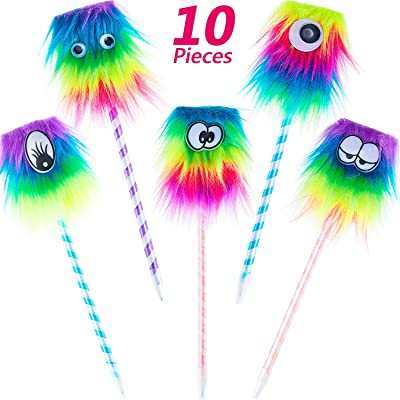 10 Pieces Rainbow Monster Pens Cute Monster Fluffy Eye Pen for School Office Christmas Birthday Carnival Party Favor: Toys & Games