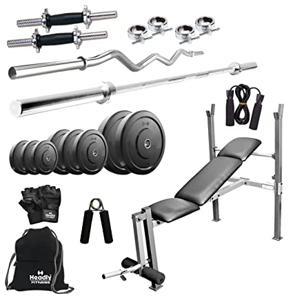 Headly 100 kg combo 8 home gym: amazon.in: sports fitness & outdoors