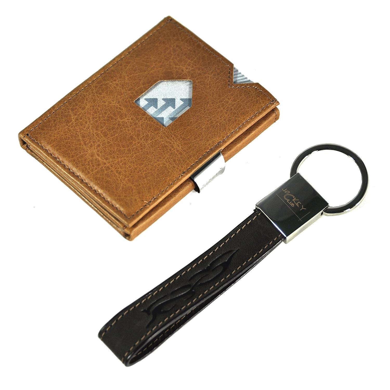 Exentri Wallet Kreditkartenetui Portemonnaie Börse echt Leder mit RFID Schutz sand + echt Leder Schlüsselanhänger EX007S-RFID+JCHaenger