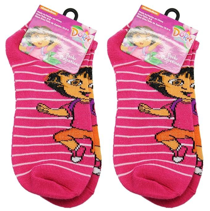 Amazon.com : 2 Pair Pink and White Thin Stripes Dora the Explorer Socks (Size 6-8) : Sports & Outdoors