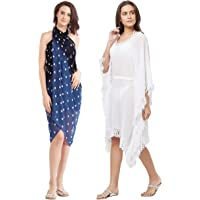 SOURBH Swim Coverup Kaftan & Sarong for Women Combo Value Pack Body Wrap Beach wear - Set of 2 (S4_SK434 - Blue & White - Free Size)