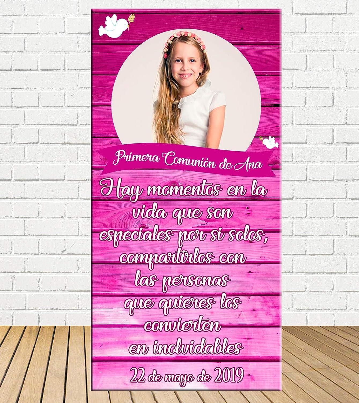 Tu Fiesta Mola Mazo Cartel de comunión de niña Efecto Madera ...