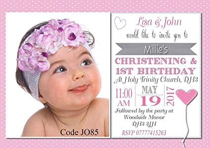 "The Invite Factory Personalised Girl's Joint Christening & First Birthday Invitations Cards - Size 5"" x 7"" (10): Amazon.co.uk: Kitchen & Home"