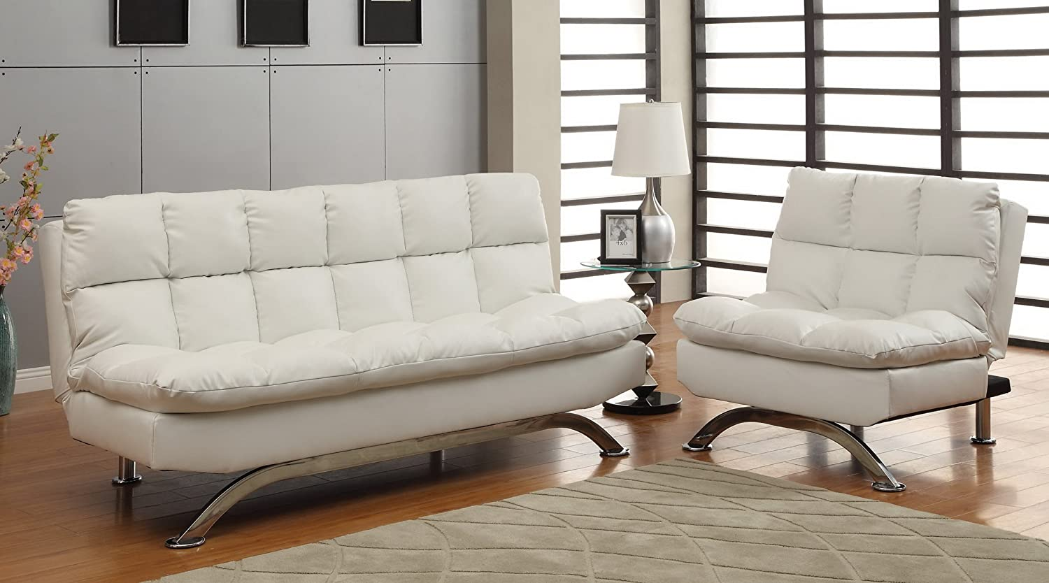 Good Amazon.com: Furniture Of America Ethel Leatherette Convertible Sofa And Chair  Set, White: Kitchen U0026 Dining