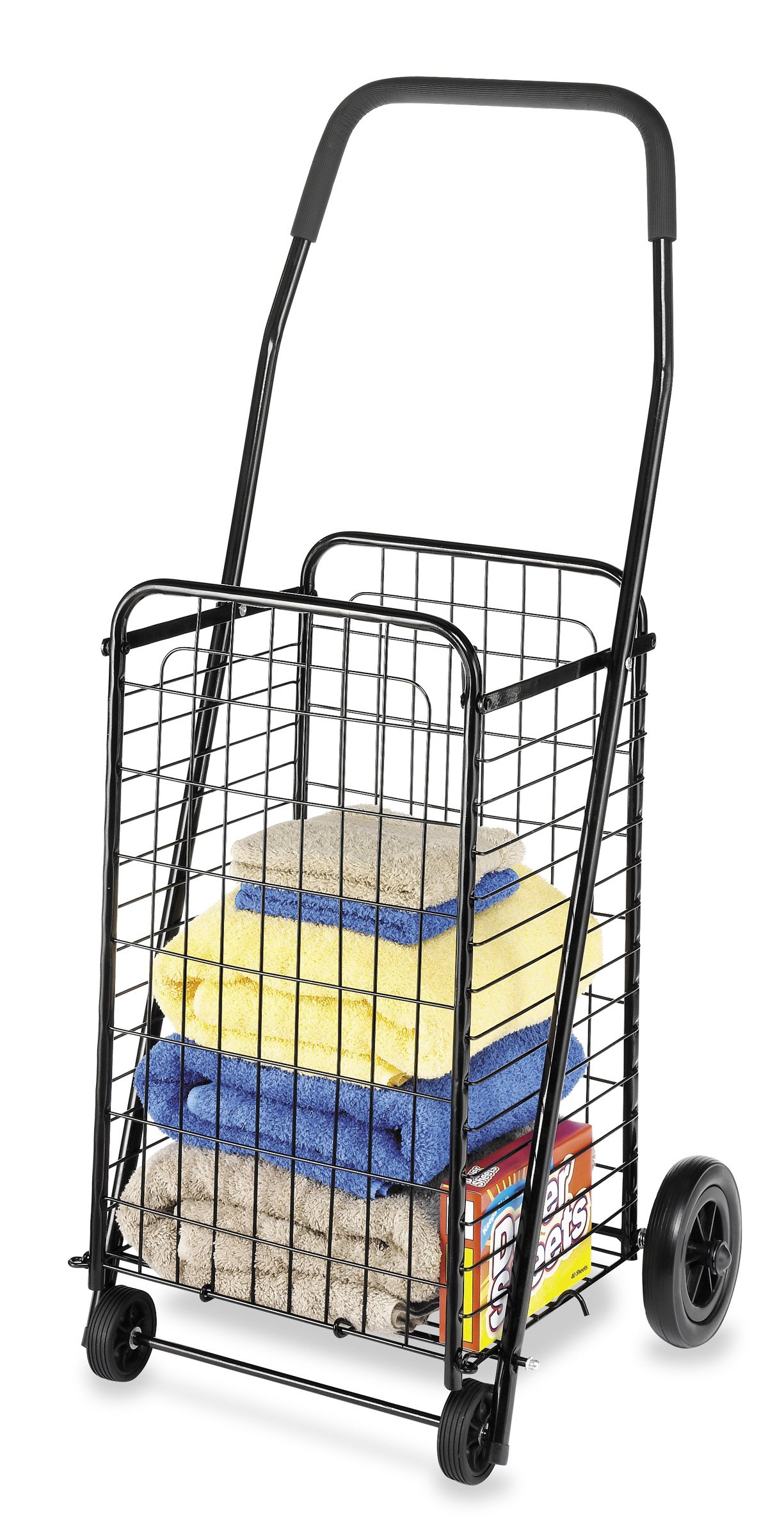 Whitmor Rolling Utility Black Shopping Cart,