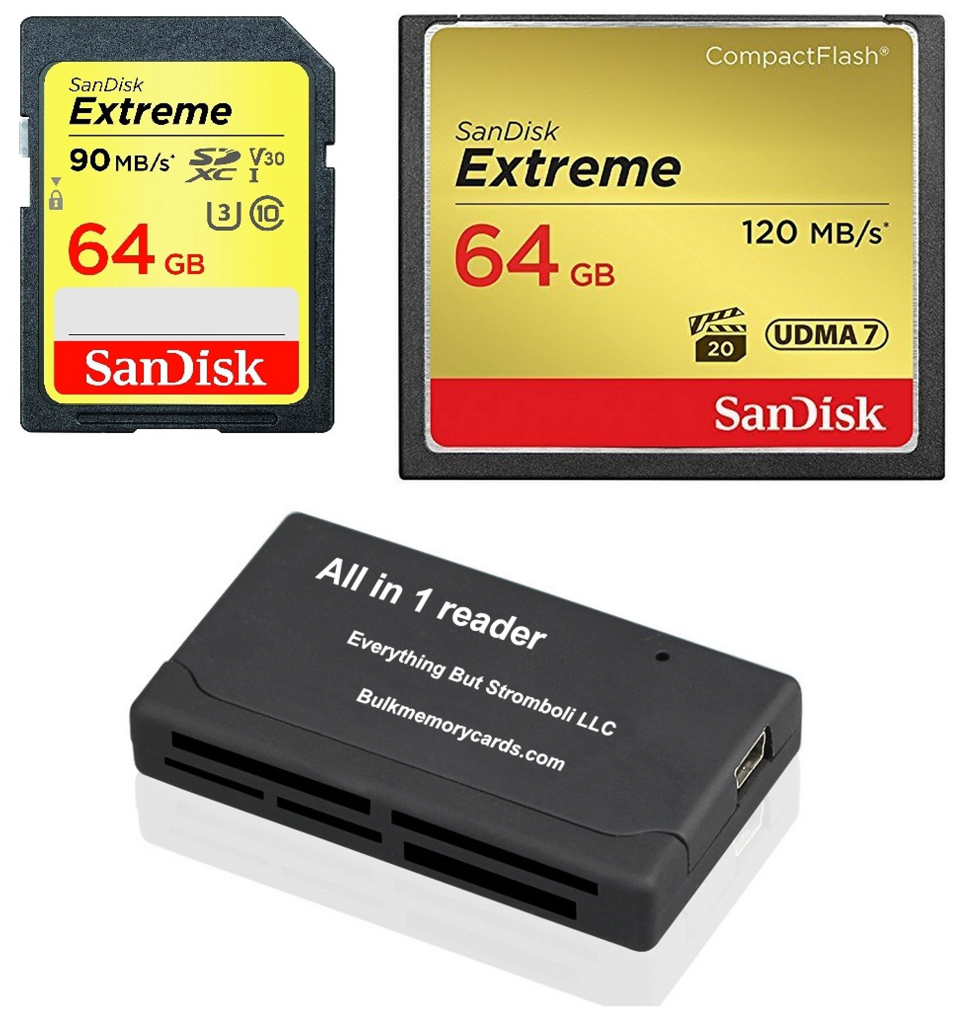SanDisk CompactFlash Extreme 64GB CF Memory Card (SDCFXSB-064G-G46) and 64GB SDHC Extreme (SDSDXVE-064G-GNCIN) for Canon 5D Mark III, 1D Mark IV Cameras with Everything But Stromboli (TM) Combo Reader