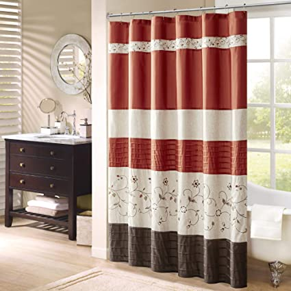 Madison Park Serene Flora Fabric Shower Curtain Embroidered Transitional Curtains For Bathroom 72