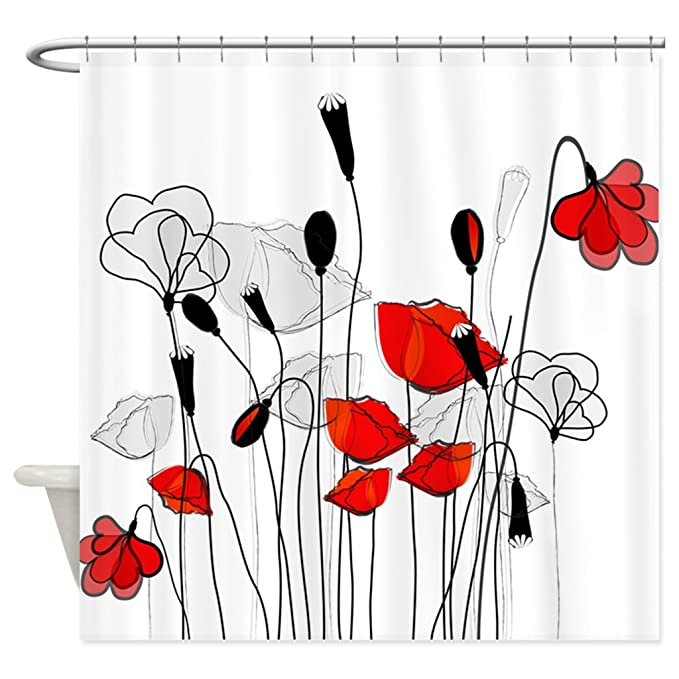 HANHAOKI Whimsical Red Poppies Shower Curtain 66quot