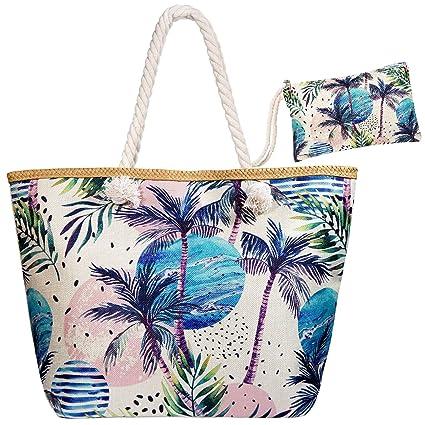 Meersee Bolsa de Playa Grande con Cremallera de Mujer Bolso de Mano Shopper Bolsa Totalizadores del Recorrido,Coco