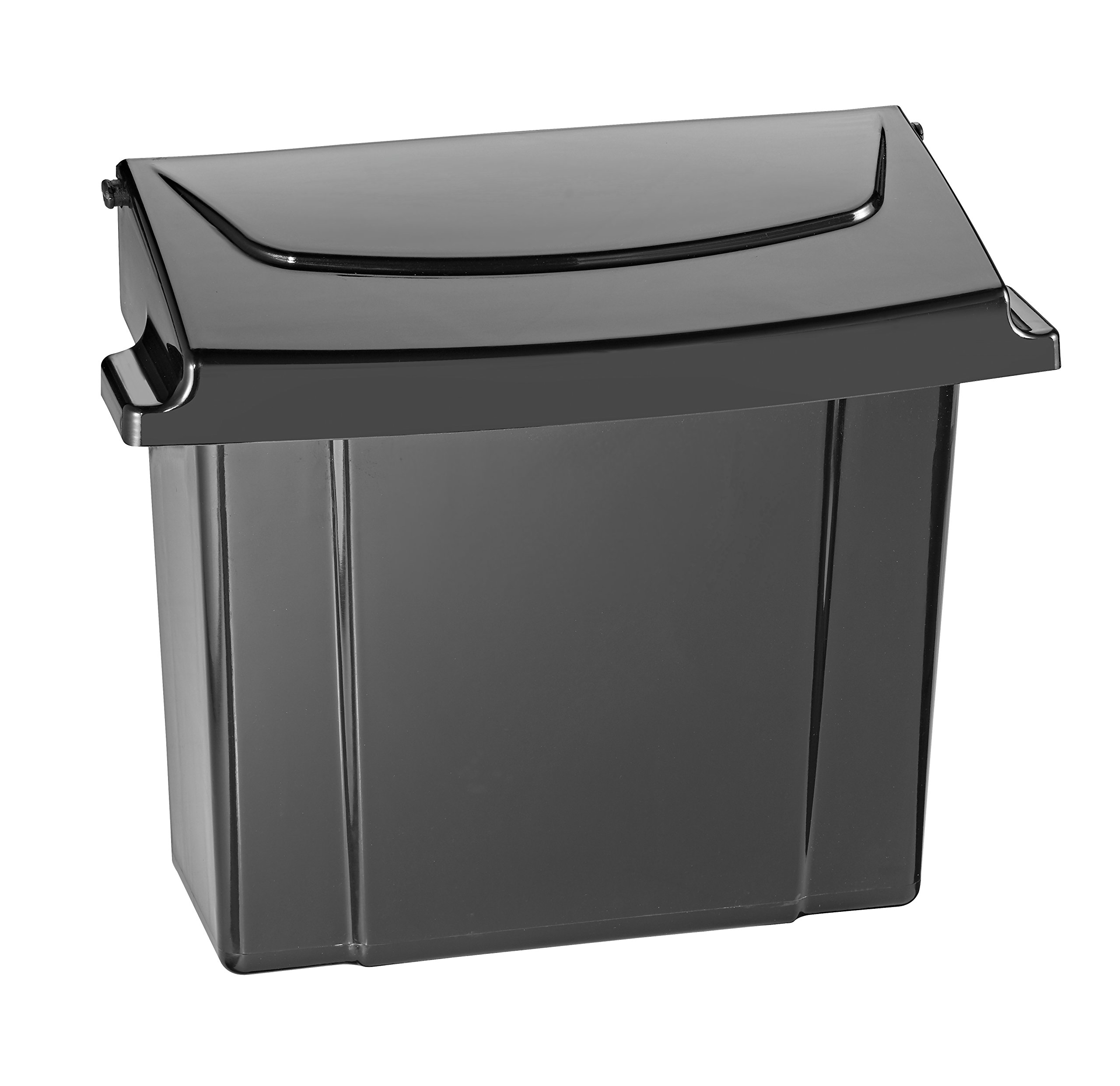 Alpine Sanitary Napkins Receptacle - Feminine Hygiene Products, Tampon & Waste Disposal Container - Durable ABS Plastic - Seals Tightly & Traps Odors -Easy Installation Hardware Included (Black)