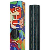 AHIJOY Holographic Glass Flower Black Vinyl Adhesive Vinyl Roll 1ft x 5ft for Craft Cutters Decals Letters