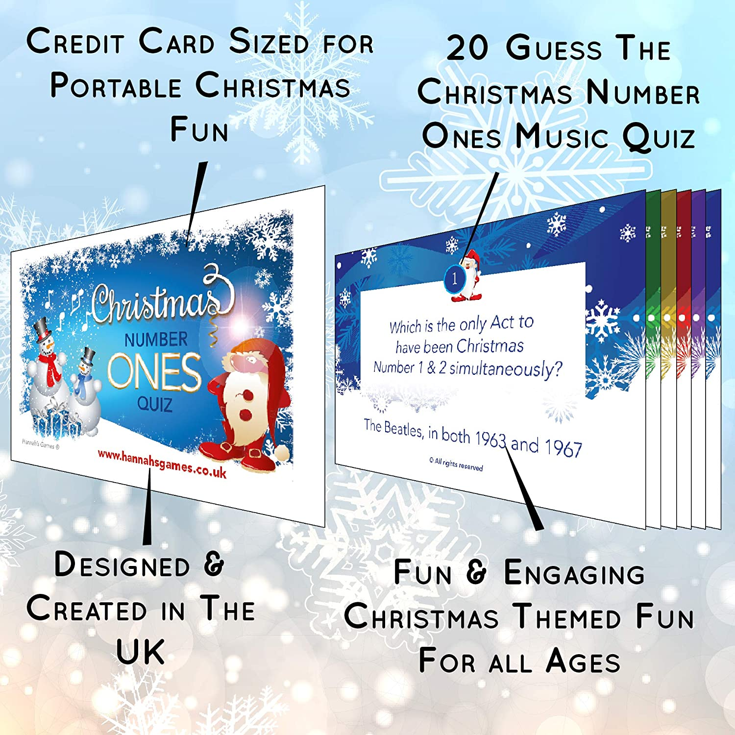 Music Trivia for Party stockings Eve box adult families crackers table Christmas Music Quiz Games **DUO SAVER PACK** Christmas Songs First Letters Game and 20 Xmas Number Ones Trivia cards