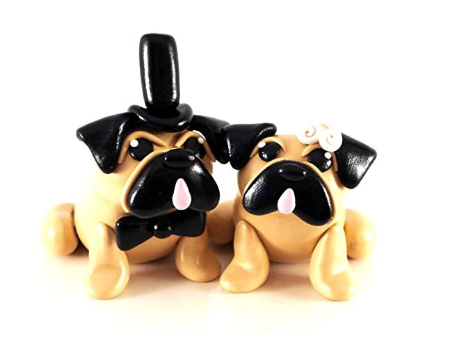 Amazon Com Pug Wedding Cake Toppers Handmade