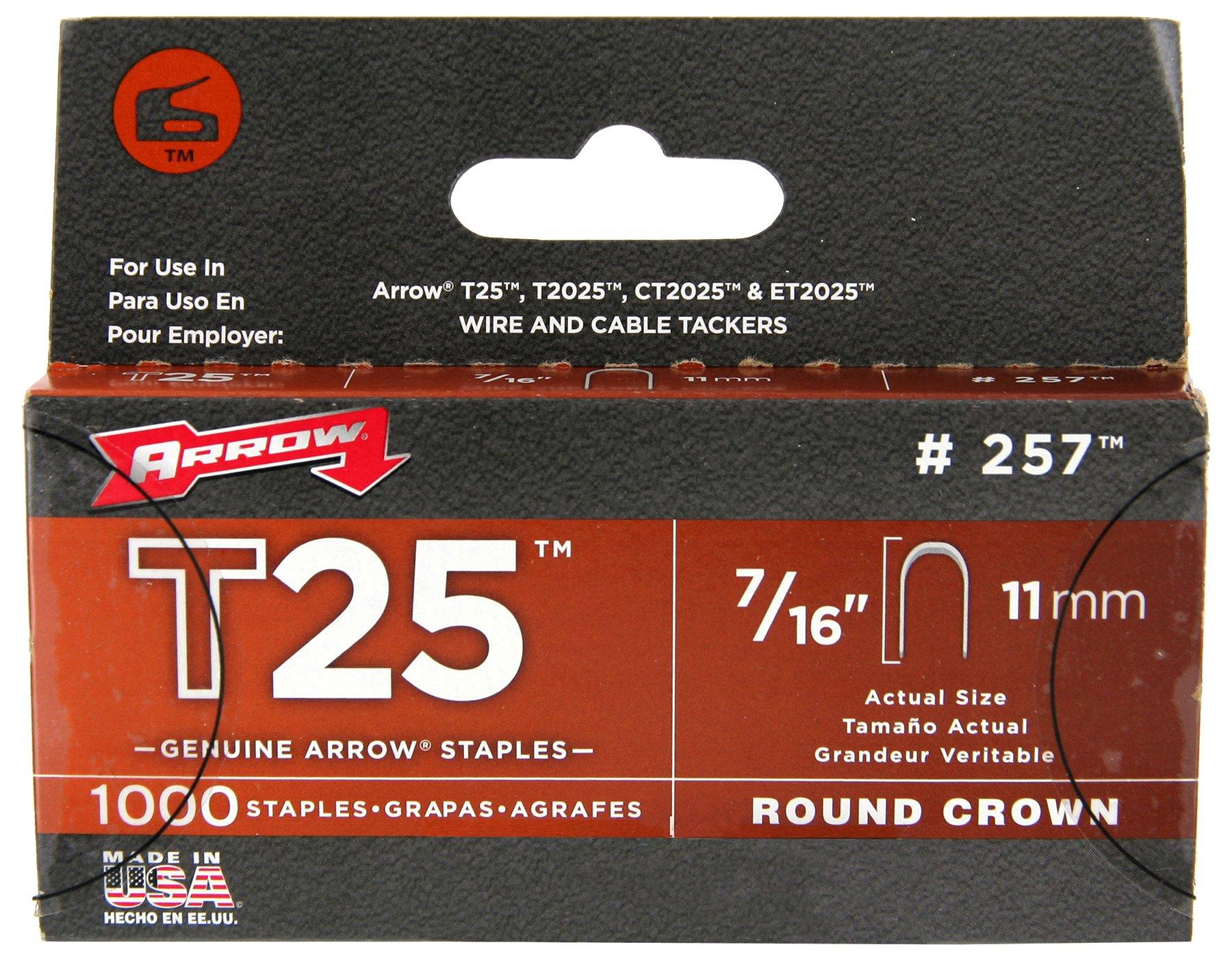 Arrow Fastener 257M Genuine 7/16-Inch T25 Staples, 1,000-Pack