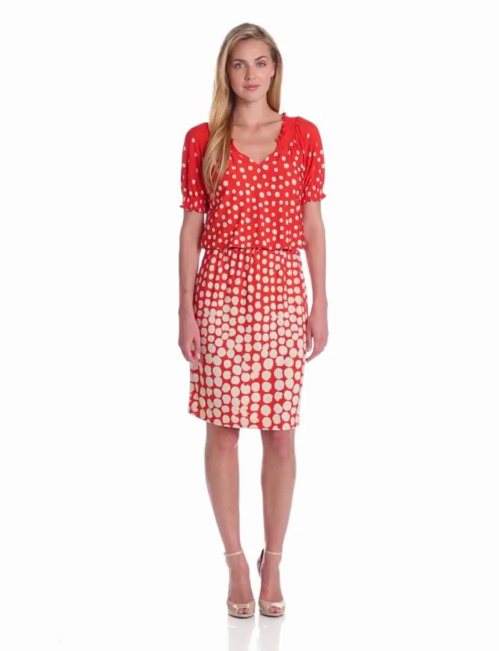 Jessica Howard Womens Short Sleeve Blouson Dress, Orange, 14