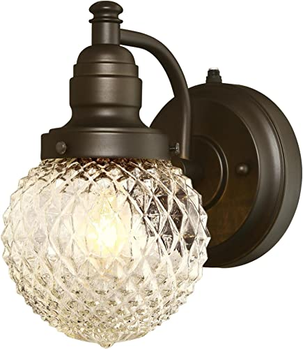 Westinghouse Lighting 6313700 Eddystone One-Light Outdoor Wall Fixture with Dusk to Dawn Sensor, Oil Rubbed Bronze Finish with Clear Diamond Cut Glass