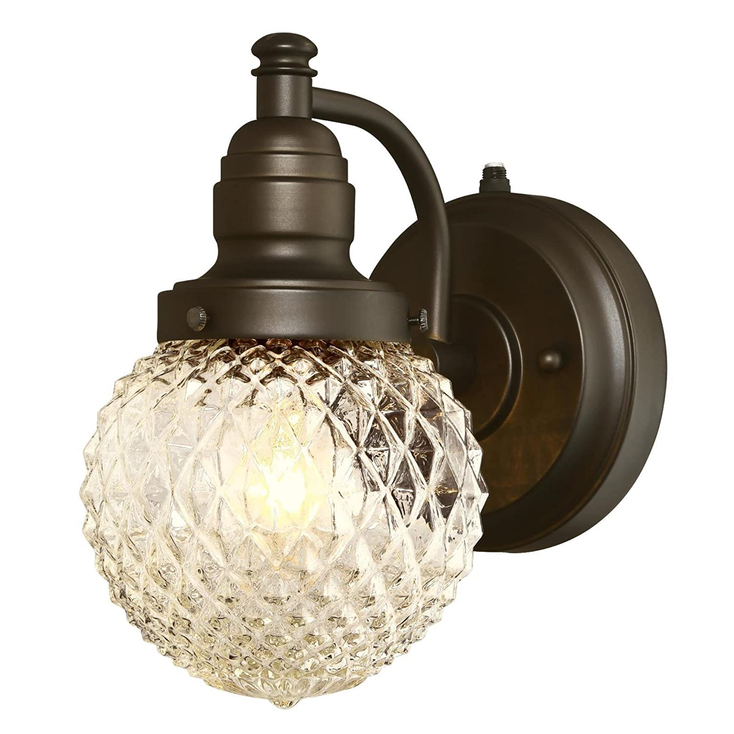 Oil Rubbed Bronze Westinghouse 6313700 Eddystone One-Light Outdoor Wall Fixture with Dusk to Dawn Sensor with with Clear Diamond Cut Glass