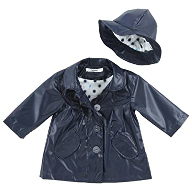 242c7f0a 3 Pommes 3544002 Baby Girl's Raincoat and Hat Navy Blue 6 Months ...