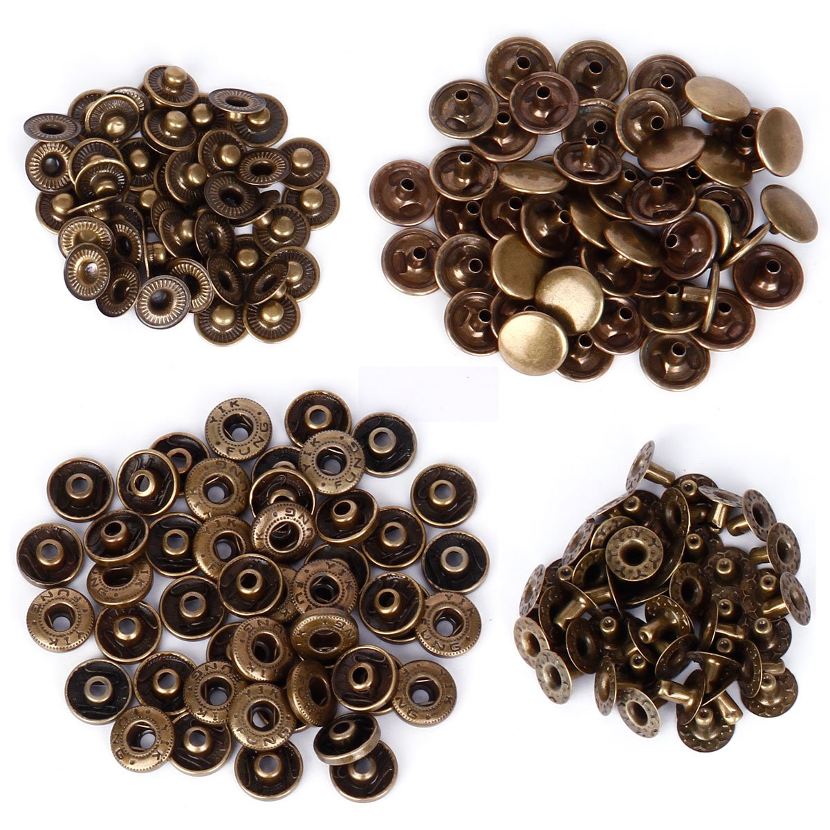 50 Sets Heavy Duty 10/12/15mm Snap Fasteners Press Studs Poppers Buttons Surepromise