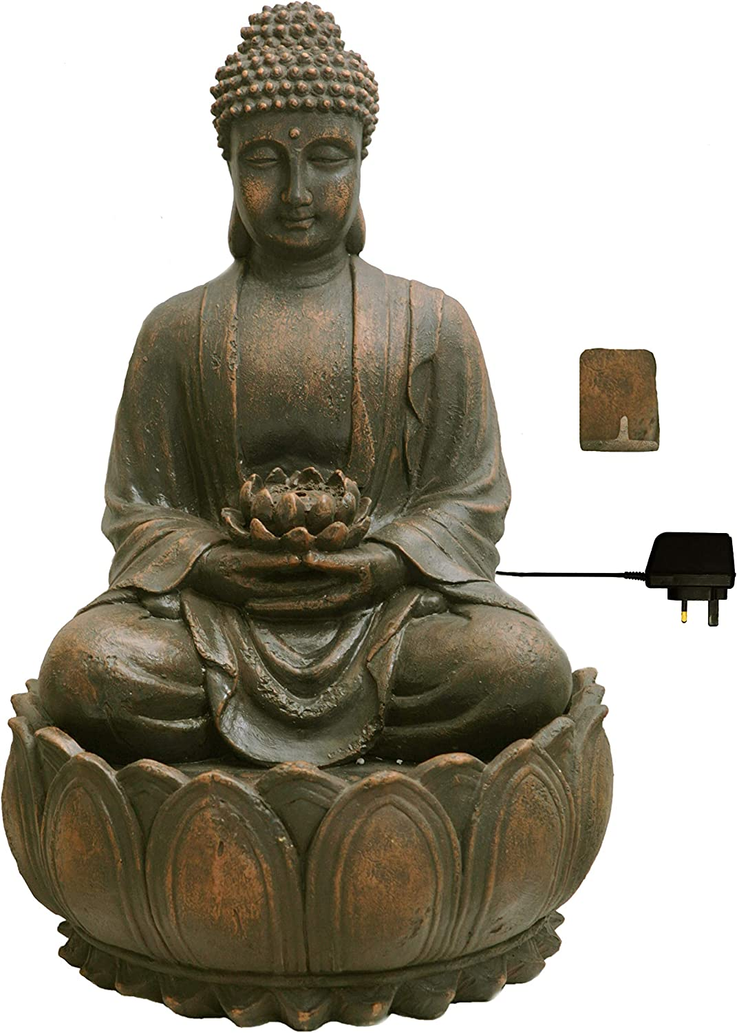 Blossoming Buddha Water Feature With Lights Amazon Co Uk Garden Outdoors