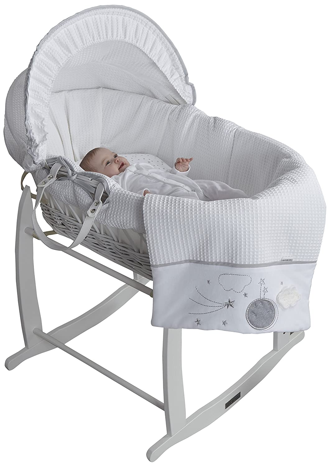 Clair de Lune Wicker Moses Basket, Grey/White, Over The Moon CL6062WGY