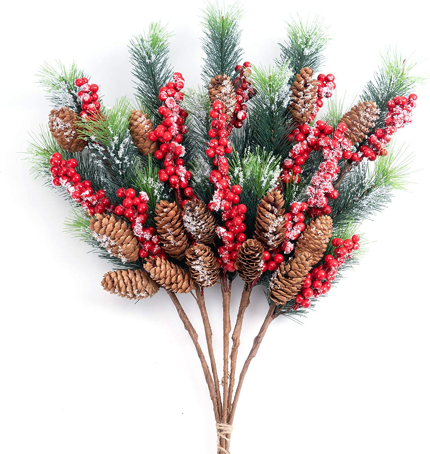 Artificial Christmas Picks Assorted Red Berry Picks Stems Faux Pine Picks Spray with Pinecones Apples Holly Leaves for Christmas Floral Arrangement Wreath Winter Holiday Season Décor(5pcs)
