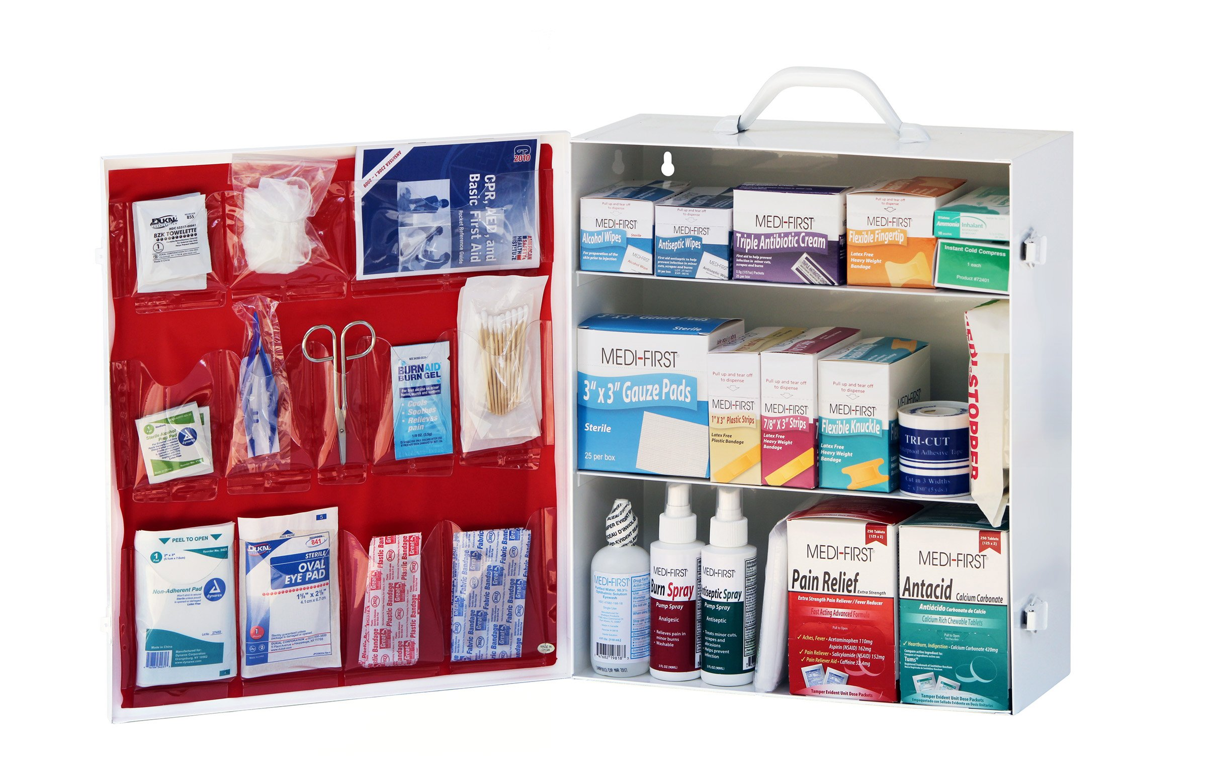 Medique 745M1, 3-Shelf Industrial First Aid Cabinet, Filled by Medique