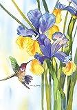 """Toland Home Garden 119468 Hummingbird and Iris 12.5 X 18"""" Decorative USA-Produced Garden Flag"""