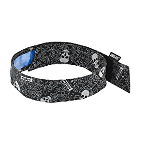 Cooling Bandana, Skulls, Lined with Evaporative PVA Material for Fast Cooling Relief, Quick and Secure Fit, Ergodyne 6705CT