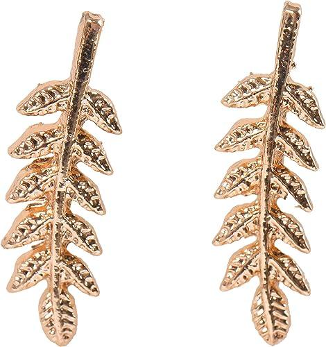 Rivertree Pendientes de oro con forma de hoja de oliva para oreja de escalada y espiral
