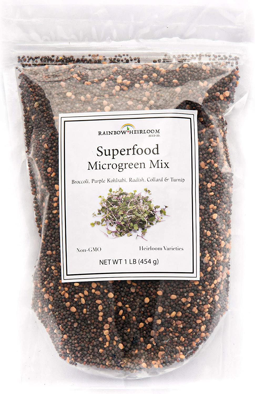 Superfood Microgreen Seeds Mix | for Microgreens Growing Trays | 1 LB | Heirloom Non GMO Purple Kohlrabi, Collard, Radish, Turnip & Broccoli Sprouts Seeds | Rainbow Heirloom Seed Co.