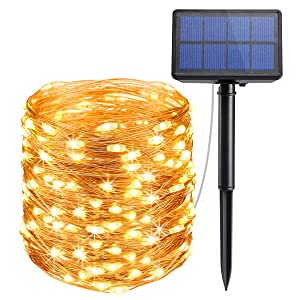 AMIR Solar String Lights,72ft 8 Modes Copper Wire Lights, 200 LED Starry Lights, Waterproof IP65 Fairy Christams Decorative Lights for Outdoor, Wedding, Homes, Party, Halloween (Warm White)