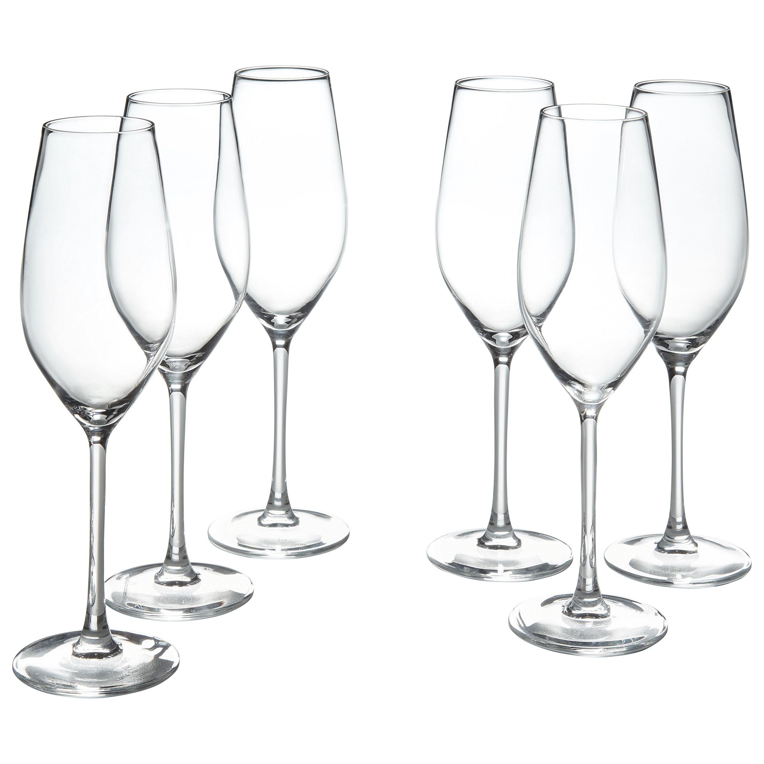 Amazon Brand – Stone & Beam Traditional Champagne Flute Glass, 9-Ounce, Set of 6