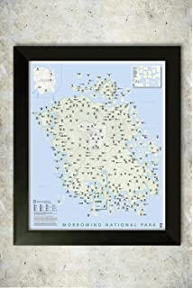 Amazon h5j1263 vvardenfell tes 3 morrowind map 20x16 framed morrowind national park style map gumiabroncs Choice Image