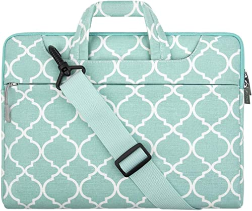 MOSISO Laptop Shoulder Bag Compatible with 13-13.3 inch MacBook Pro, MacBook Air, Notebook Computer, Canvas Quatrefoil Pattern Briefcase Sleeve Case, Turquoise