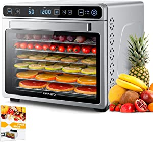 Kwasyo Food Dehydrator Machine with Keep Warm Function, 7 Layers ALL Stainless Steel, 24H Adjustable Timer & Temperature Control, BPA-Free, Dehydrators for Food and Jerky, Fruit Vegetable Pet Treats,650W, Recipe Book Included