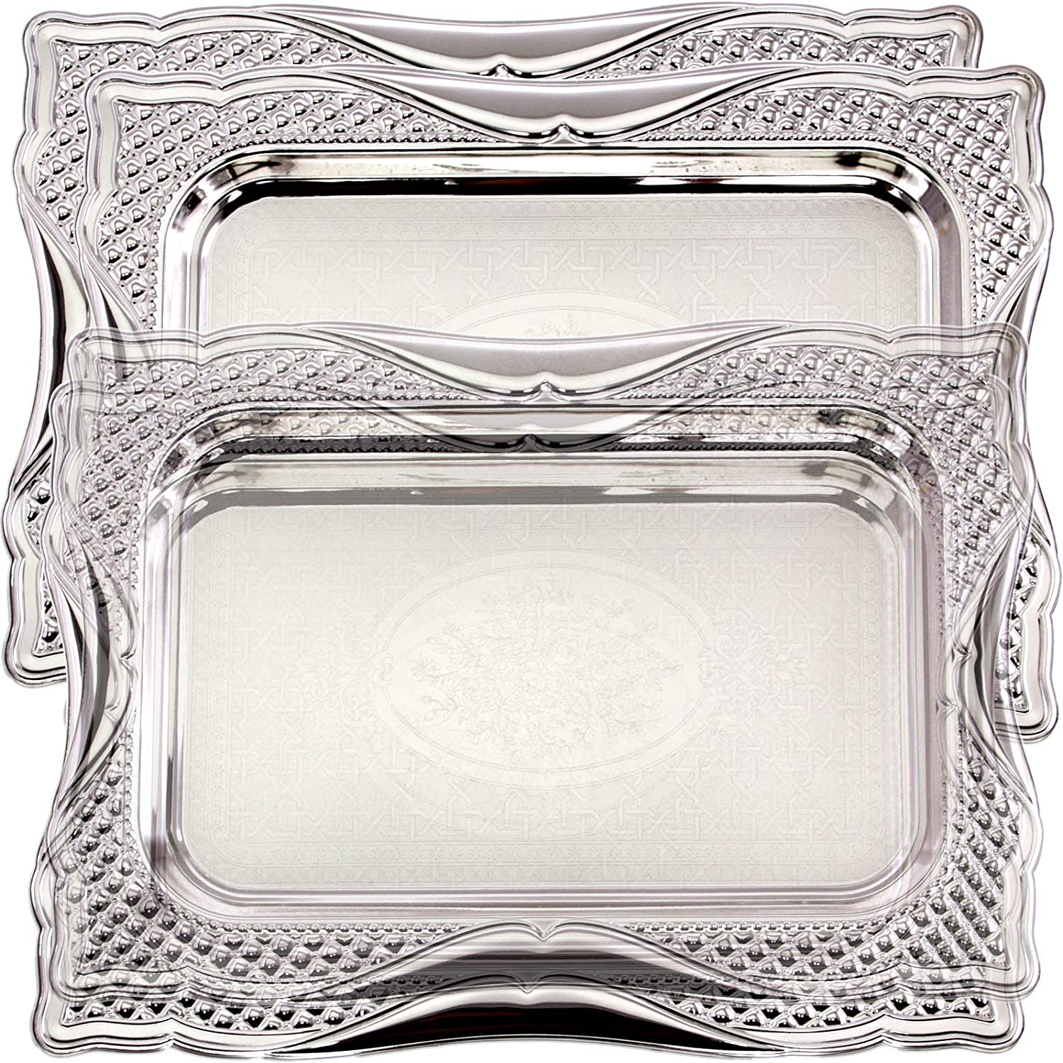 Maro Megastore (Pack of 4) 14.2 Inch x 10.2 Inch Oblong Chrome Plated Serving Tray Stylish Design Leaf Engraved Decorative Party Birthday Wedding Dessert Buffet Wine Decor Platter Plate Base CC-643
