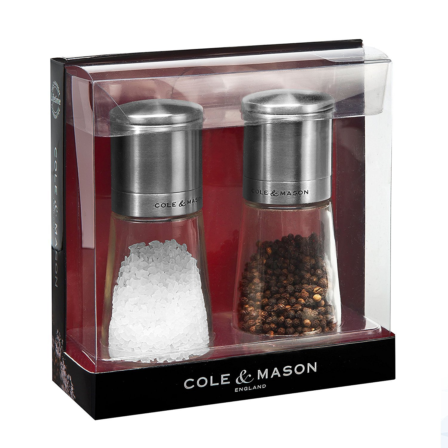 COLE & MASON Clifton Top Grinding Salt and Pepper Grinder Gift Set - Mills Include Precision Mechanisms and Premium Sea Salt and Peppercorns, Stainless Steel and Glass by Cole & Mason