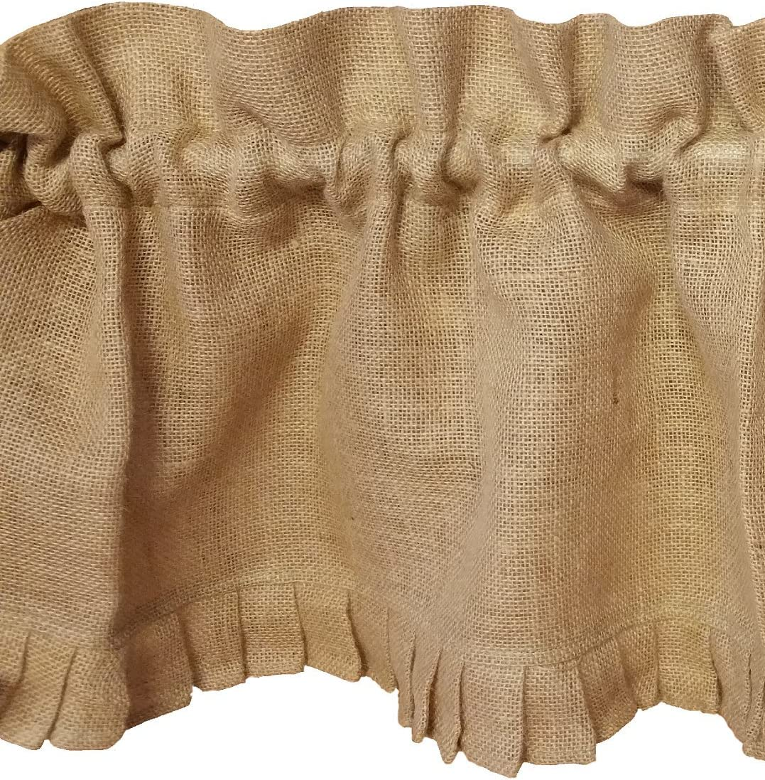 AT Primitive Country Burlap Ruffle Window Valance