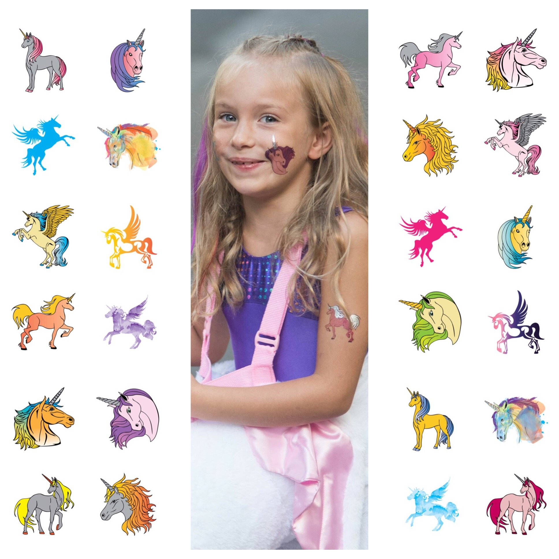 John & Judy 24 Unicorn Temporary Tattoos for Girls Best for Unicorn Party Supplies Party Favors and Unicorn Birthdays Beautiful Metallic Unicorn and Pegasus Tattoos