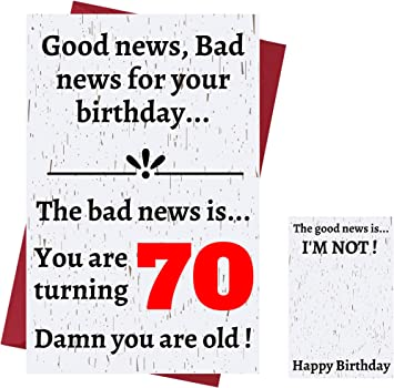 Amazon Com Funny Offensive Rude Sarcasm 70th Birthday Cards For Women Or Men Funny Offensive Birthday Cards 70 Years Old Perfect Funny Offensive Rude Sarcasm Birthday Cards 70th Anniversary Office Products