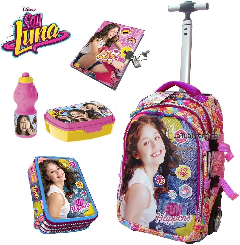 SOY LUNA Juego de Mochila carrito 45 cm Escuela Estuche triple Pack merenda Diario para niña: Amazon.es: Oficina y papelería