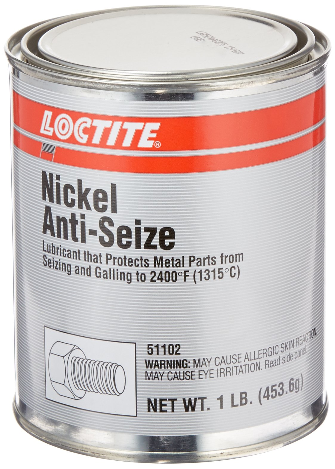 Loctite 51102 Gray LB 771 Nickel Anti-Seize Lubricant, 2400 Degree F Upper Temperature Rating, 1 lb. Can by Loctite