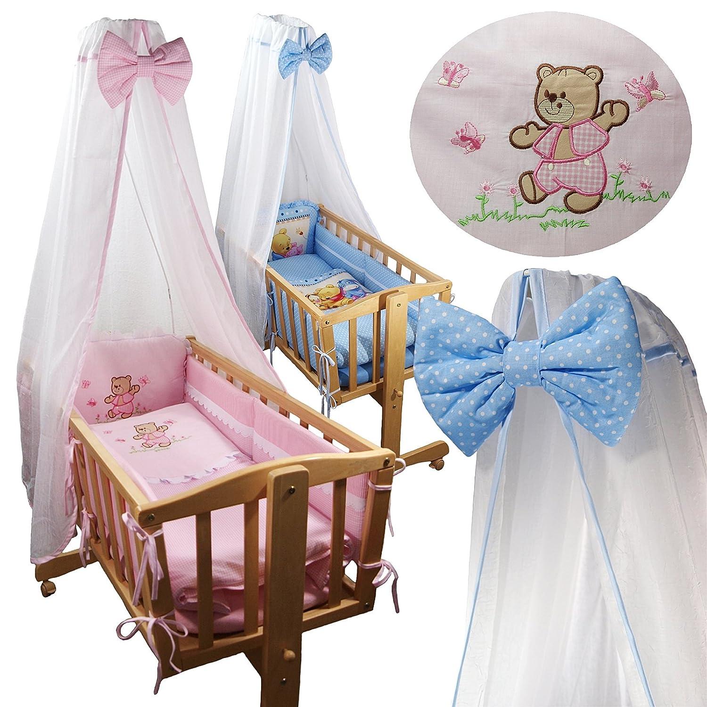 8 tlg. Baby Ausstattung Set für Schaukelwiege Wiege Babywiege Wiege-Garnitur Bettset Beistellbett (Blau mit Winnie Pooh) Noname