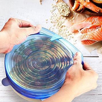Reutilizable silicona Stretch tapas para ollas, sartenes y cuencos, alimentos de cocina y contenedor de almacenamiento por Kreative (6 unidades): Amazon.es: ...