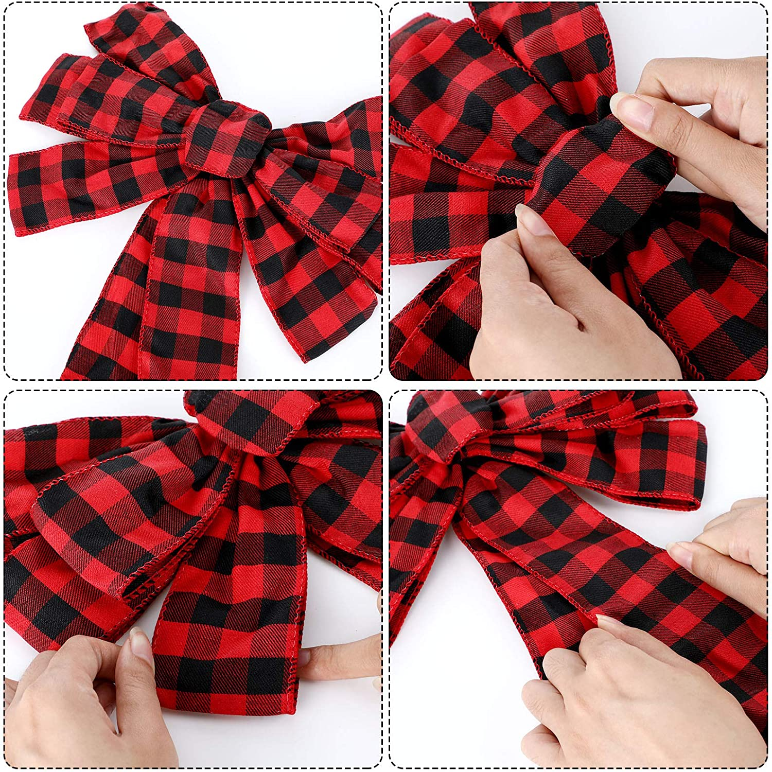 Red and Black Plaid 6 Pieces Buffalo Plaid Bow Halloween Christmas Wreath Bow 10 Inch Thanksgiving Fall Bows for Christmas Tree Holiday Decorations