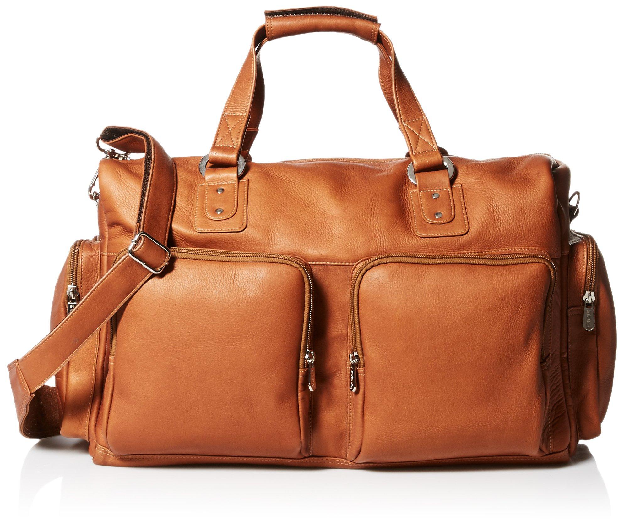 Piel Leather Multi-Pocket Leather Carry-On, Saddle, One Size