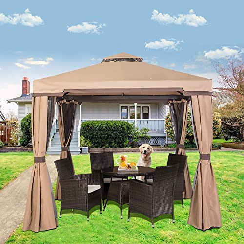 Oakmont Outdoor Patio Furniture 10' x 10' Soft-Top Garden Gazebo Canopy Umbrella,with Net Drapery,Mosquito Netting and Shade Curtains,Brown