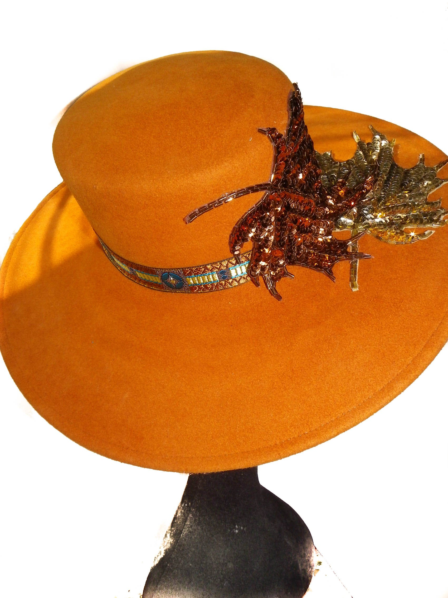 Style Of Individuality Wide Brim Wool Felt Hat In FALL'S Pumpkin, West's Turquoise, With Sparkles! by Style Of Individuality (Image #9)